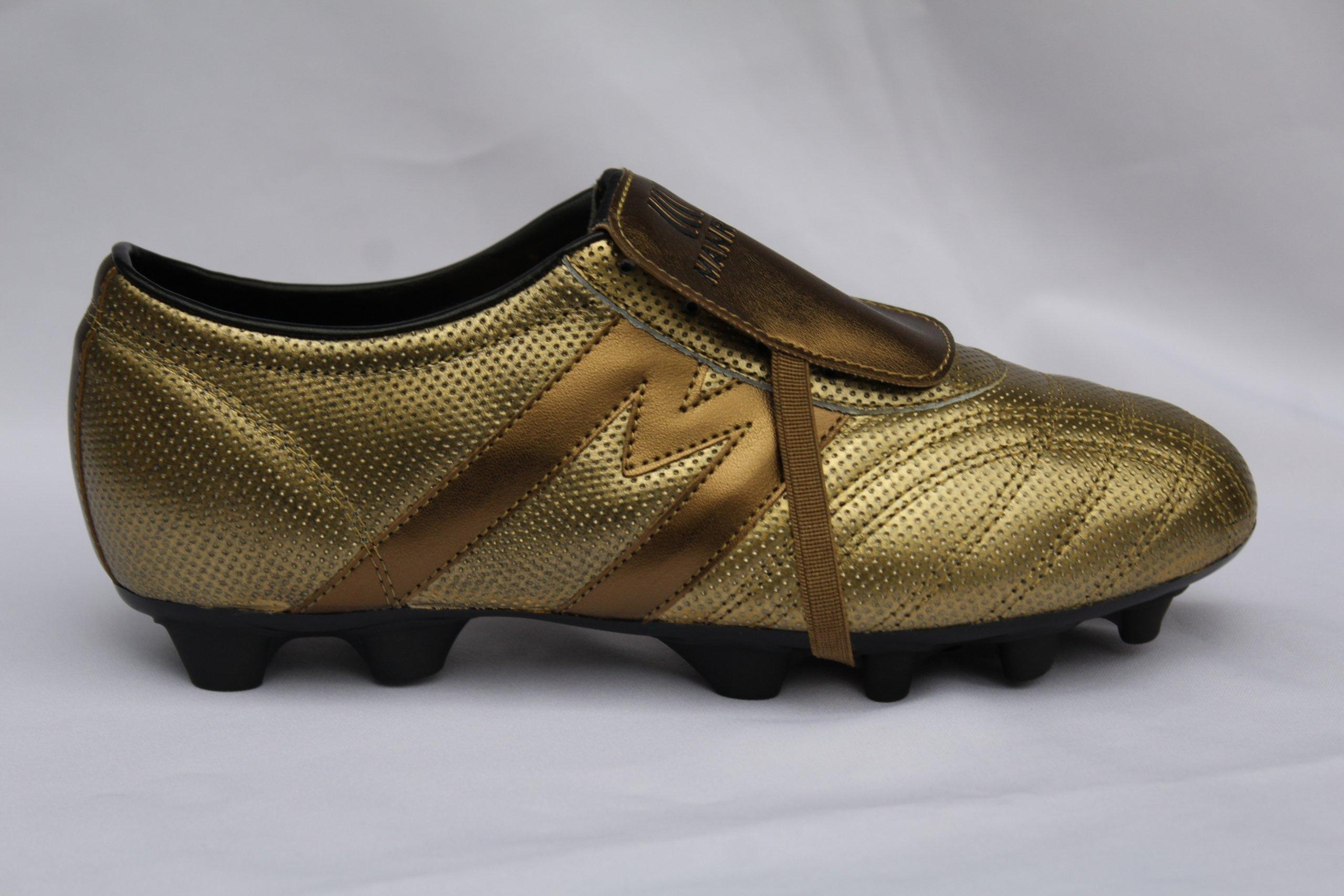 2267-Zapato de fútbol profesional marca Manríquez mod. MID SX color dorado con negro